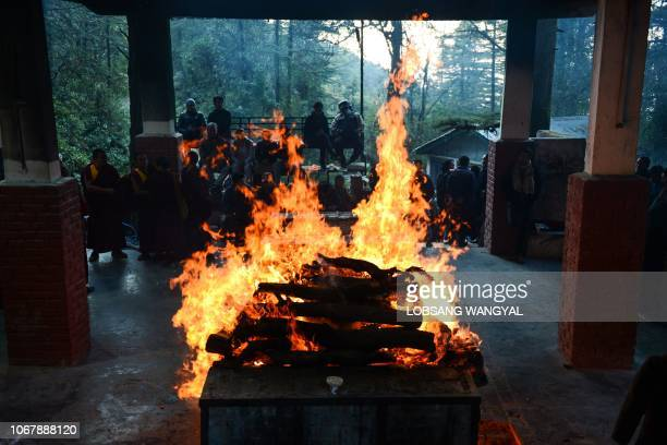 A cremation ceremony of Tibetan freedom fighter Palden Gyatso is pictured in McLeod Ganj a suburb of Dharamshala on December 3 2018 Renowned Tibetan...