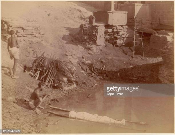 Cremation Ground at Manikarnika Ghat, Varanasi, India, 1860s-70s, Albumen silver print from glass negative, 20.9 x 27.1 cm , Photographs, Unknown.