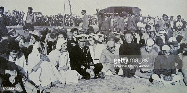 Cremation of Mahatma Gandhi 1948 Delhi India left to right Lord and Lady Brabourne Rajkumari Amrit Kaur Lady Mountbatten Lord Mountbatten Lady Pamela...