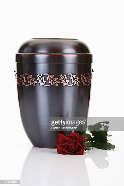 cremation urn and red rose - urn stock pictures, royalty-free photos & images