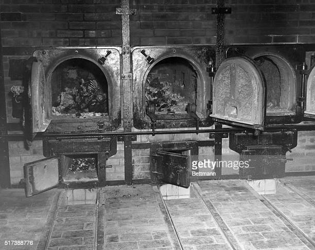 Crematorium in a Nazi concentration camp at Weimar Germany containing the bones of women prisoners discovered by American troops at the end of World...