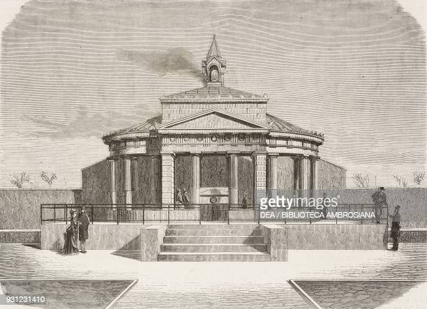 Crematory aedicula in the Cemetery of Milan, Italy, engraving from L'Illustrazione Italiana, Year 3, No 14, January 30, 1876.