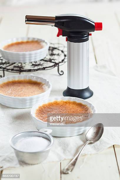 Creme brulee in little dishes before caramelization