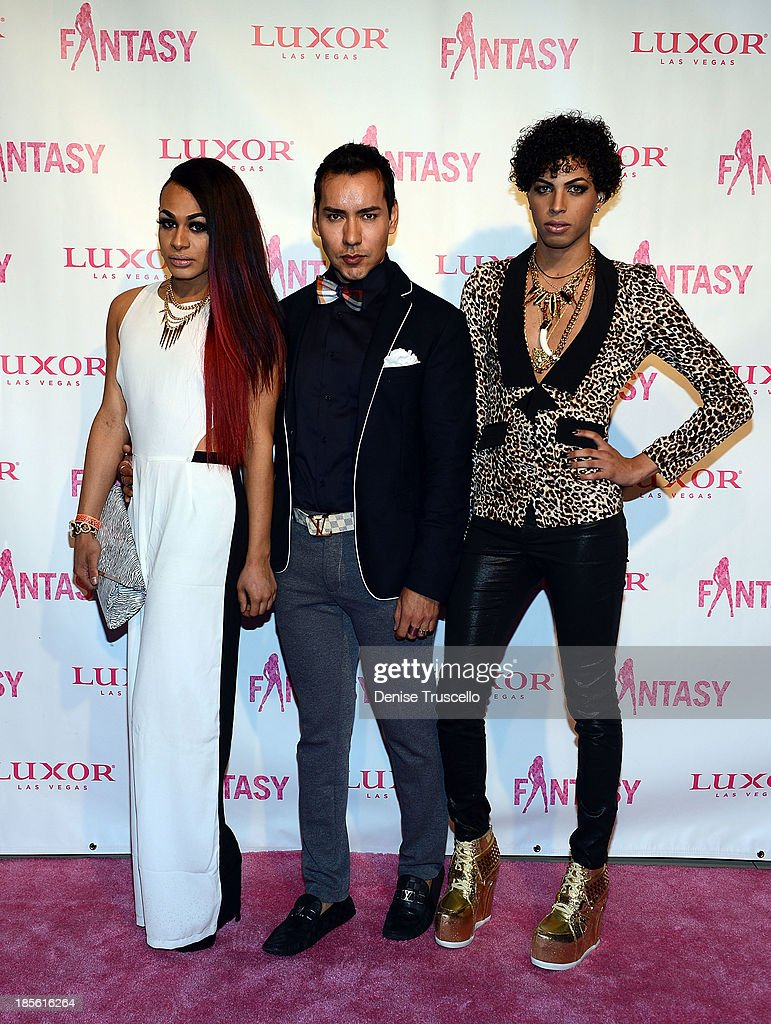 L'creme Giordano, Oscar Picazo and Carlos Marin arrive at the FANTASY calendar launch at Luxor Hotel and Casino on October 22, 2013 in Las Vegas, Nevada.