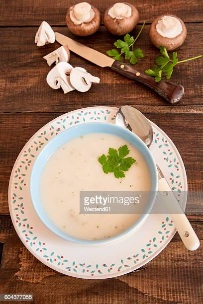 Creme of mushroom soup in a bowl