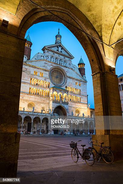 cremona cathedral  at dusk, lombardy italy - lombardy stock pictures, royalty-free photos & images