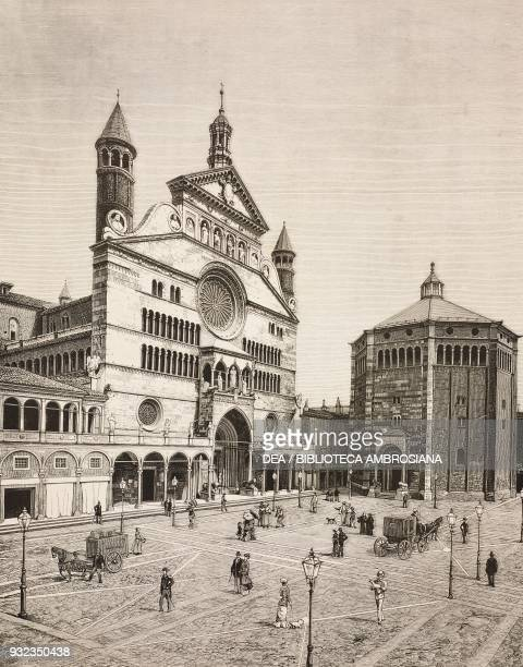Cremona cathedral the Torrazzo and the baptistery Italy drawing by Edoardo Matania engraving from L'Illustrazione Italiana No 40 October 3 1880