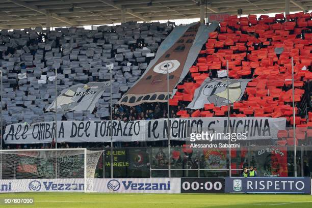 Cremonese fans before the serie B match between US Cremonese and Parma FC at Stadio Giovanni Zini on January 20 2018 in Cremona Italy