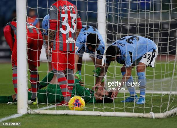 Cremonese goalkeeper Michael Agazzi is injured during the Coppa Italia match between SS Lazio and US Cremonese at Olimpico Stadium on January 14 2020...