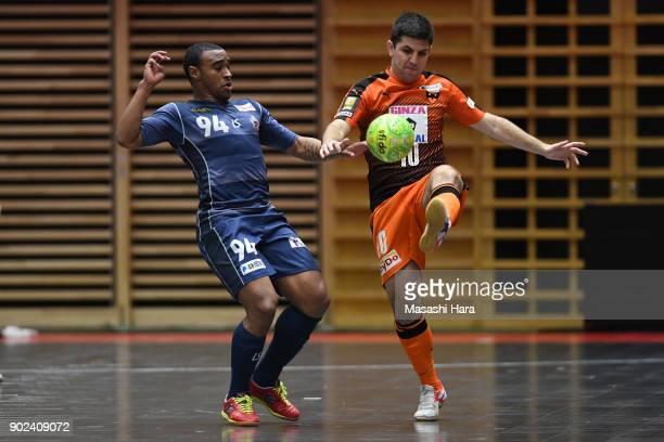 Crepaldi Vinicius of Shriker Osaka and Jonhn Lennon of Agleymina Hamamatsu compete for the ball during the FLeague match between Shriker Osaka and...