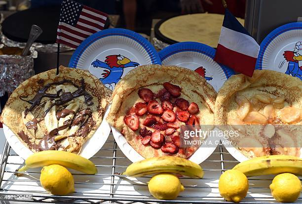 Crepes are displayed during the French Institute Alliance Francaise's street fair to celebrate Bastille Day in New York on July 13 2014 Each year...