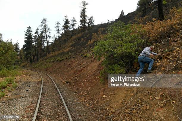 Cres Fleming makes his way up a portion of a steep hill along the Durango Silverton Railroad tracks where he says the 416 fire started on July 10...