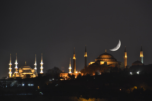 Crescent and Hagia Sophia 472529026
