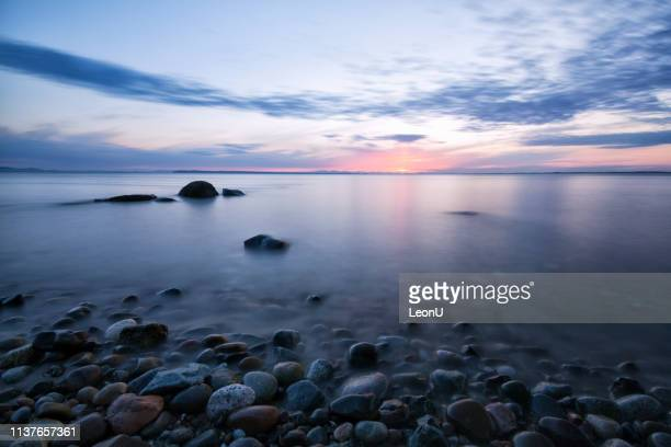 crescent beach at sunset, surrey, bc, canada - british columbia stock pictures, royalty-free photos & images