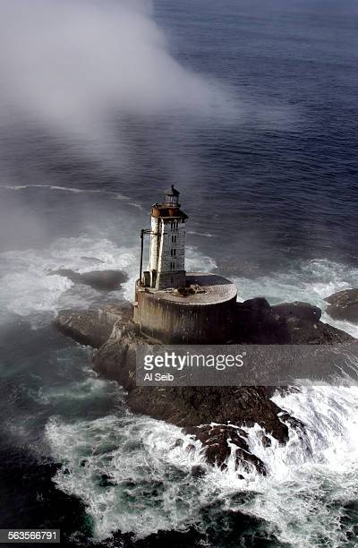 Crescent City, CA. St. George Reef Lighthouse. Arial view of the St. George Reef Lighthouse first illuminated in 1892. The granite base and tower is...