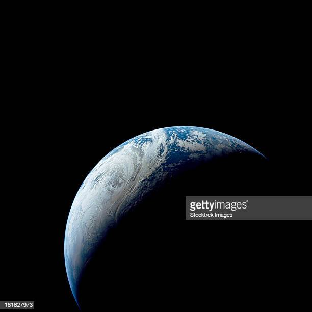 crescent earth taken from the apollo 4 mission. - 1967年 ストックフォトと画像