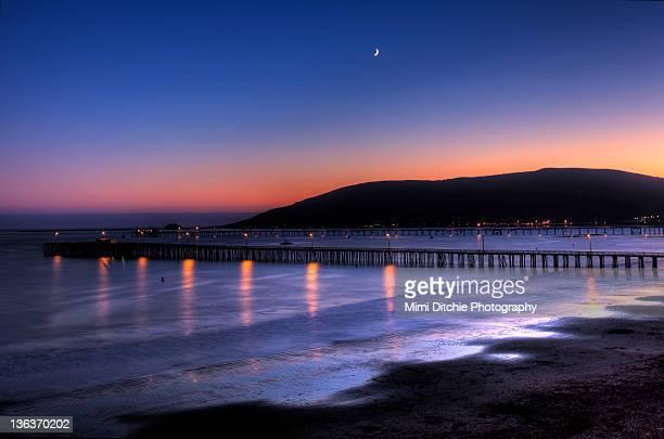 Crescent moon appears in sky over Avila Beach