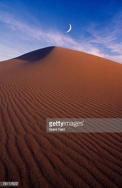 Crescent moon over sand dune in desert
