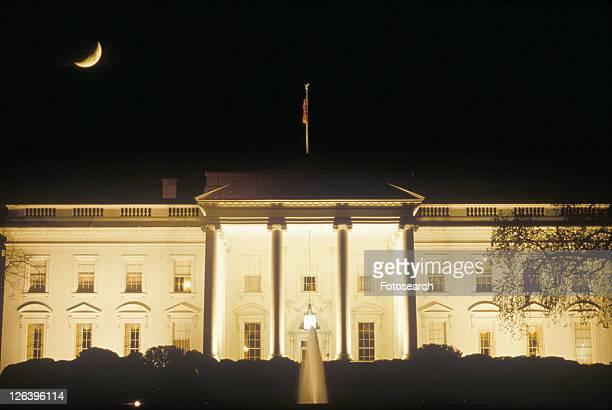 Crescent Moon over The White House, Washington, D.C.