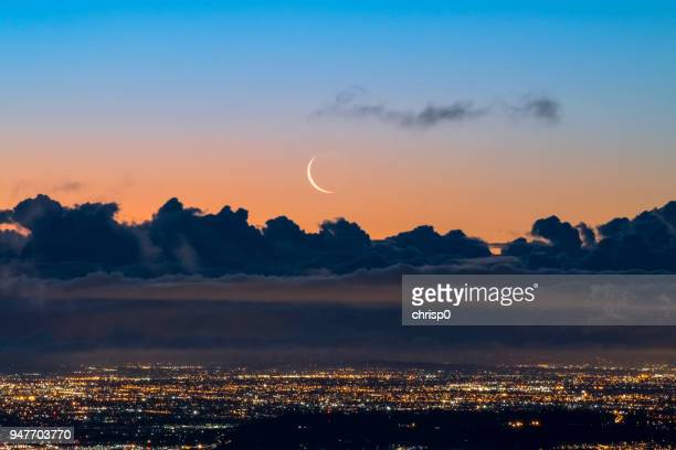 Crescent Moon Rising over Los Angeles at Dawn