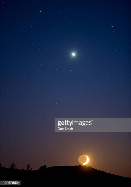 crescent moon with venus. - don smith stock pictures, royalty-free photos & images