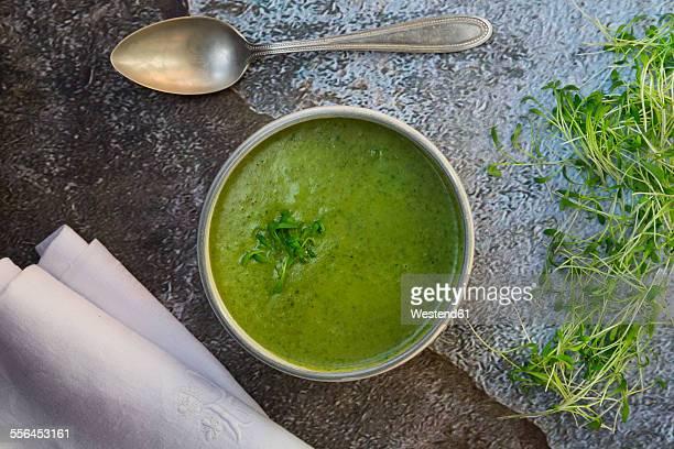 Cress soup in bowl on dark floor