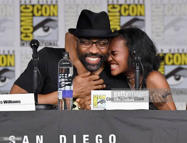 "Cress Williams and China Anne McClain speak onstage at the ""Black Lightning"" Special Video Presentation and Q&A during Comic-Con International 2018..."