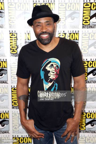 Mara Brock Akil and Salim Akil attend the 'Black Lightning' Press Line during ComicCon International 2018 at Hilton Bayfront on July 21 2018 in San...