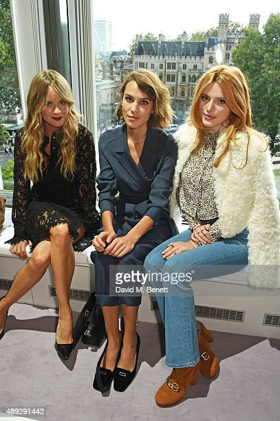 Cressida Bonas Alexa Chung and Bella Thorne attend the Topshop Unique show during London Fashion Week SS16 at The Queen Elizabeth II Conference...