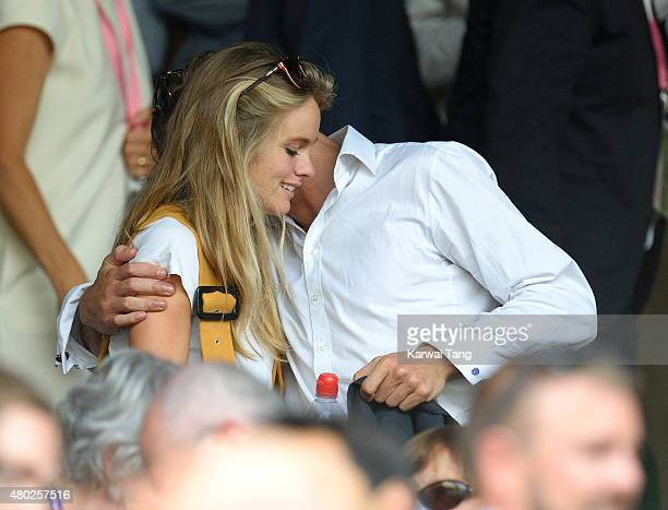 Cressida Bonas and Edward Holcroft attend day eleven of the Wimbledon Tennis Championships at Wimbledon on July 10, 2015 in London, England.