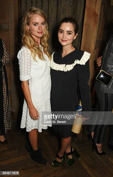 Cressida Bonas and Jenna Coleman attend a dinner cohosted by Harvey Weinstein Burberry Evgeny Lebedev ahead of the 2017 BAFTA film awards in...