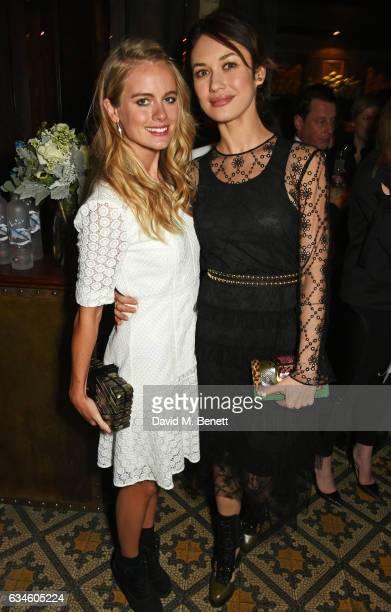 Cressida Bonas and Olga Kurylenko attend a dinner cohosted by Harvey Weinstein Burberry Evgeny Lebedev ahead of the 2017 BAFTA film awards in...