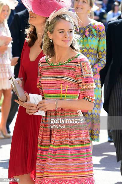 Cressida Bonas arrives at St George's Chapel at Windsor Castle before the wedding of Prince Harry to Meghan Markle on May 19 2018 in Windsor England