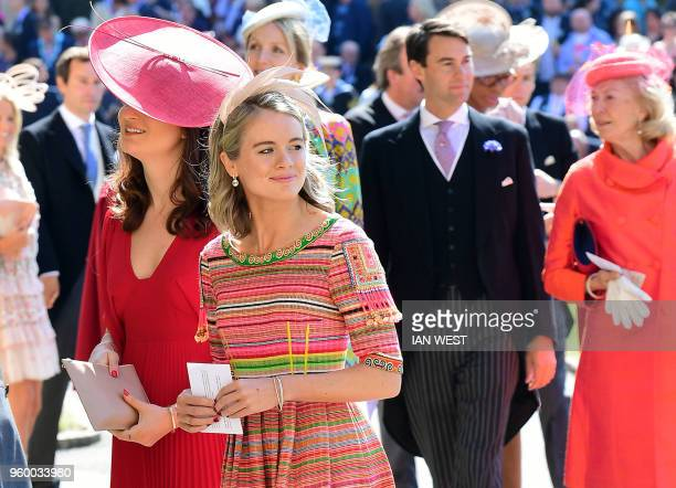 Cressida Bonas arrives for the wedding ceremony of Britain's Prince Harry Duke of Sussex and US actress Meghan Markle at St George's Chapel Windsor...