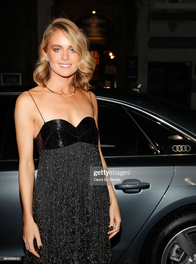 Cressida Bonas arrives in an Audi at the Evening Standard Theatre Awards at Theatre Royal on December 3, 2017 in London, England.