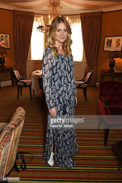Cressida Bonas attends as Freddie Fox and friends perform sonnets that have inspired them as actors on the stunning terrace at Mark's Club on July 13...