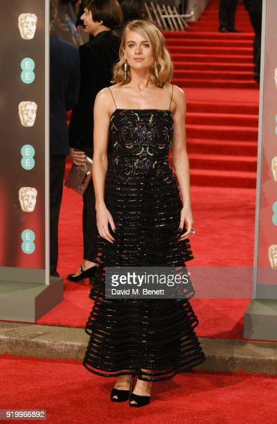 Cressida Bonas attends The British Academy Film Awards 2018 at The Royal Albert Hall wearing Atelier Swarovski the official jewellery partner on...