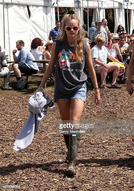 Cressida Bonas attends the Glastonbury Festival at Worthy Farm on June 29 2014 in Glastonbury England