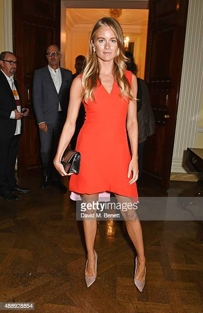 Cressida Bonas attends the London Fashion Week party hosted by Ambassador Matthew Barzun and Mrs Brooke Brown Barzun with Alexandra Shulman in...