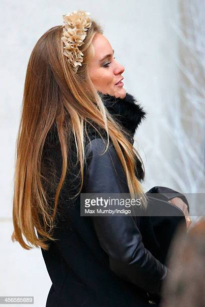 Cressida Bonas attends the wedding of Jake Warren and Zoe Stewart in the Wren Chapel at the Royal Hospital Chelsea on December 14 2013 in London...
