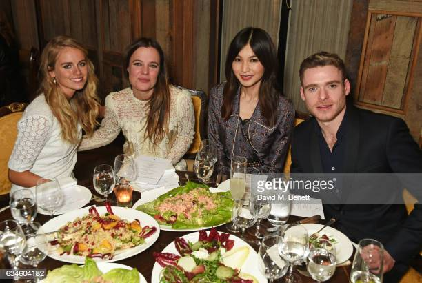 Cressida Bonas Katie McGuinness Gemma Chan and Richard Madden attend a dinner cohosted by Harvey Weinstein Burberry Evgeny Lebedev ahead of the 2017...