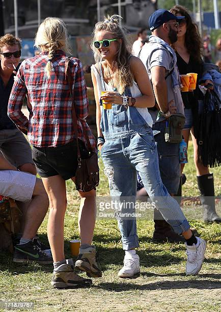 Cressida Bonas Price Harry's girlfrend attends day 3 of the 2013 Glastonbury Festival at Worthy Farm on June 29 2013 in Glastonbury England
