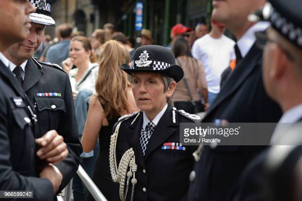 Cressida Dick Commissioner of the Metropolitan Police Service arrives at Southwark Cathedral near Borough Market to attend the first anniversary of...