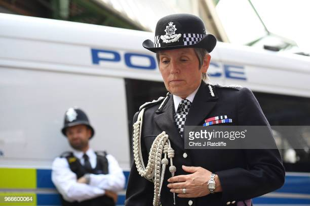 Cressida Dick Commissioner of the Metropolitan Police Service arrives at Southwark Cathedral to attend the first anniversary of the London Bridge...