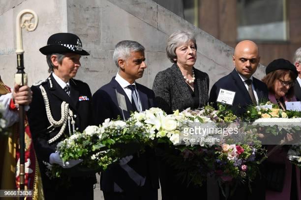 Cressida Dick Commissioner of the Metropolitan Police Service Mayor of London Sadiq Khan British Prime Minister Theresa May and Sajid Javid the...