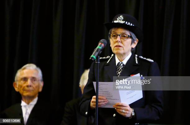 Cressida Dick The Metropolitan Police Commissioner reads the poem 'Time' by Henry Van Dyke watched by The Lord Speaker Lord Fowler during a...