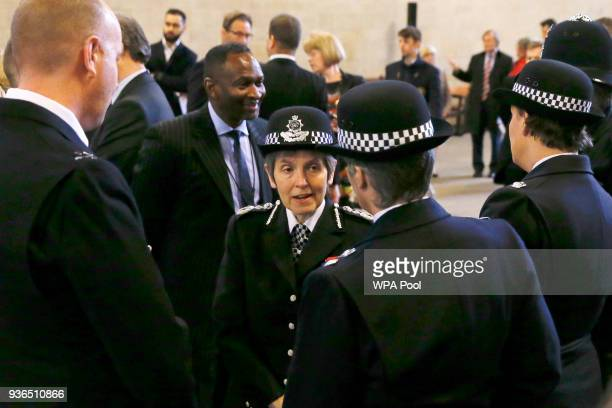 Cressida Dick the Metropolitan Police Commissioner talks to colleagues after a commemoration for the victims of the attack on Westminster and...