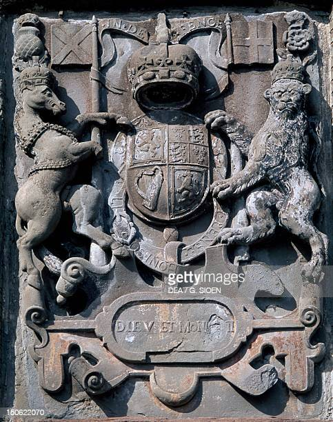 Crest entrance decoration from Glamis Castle Angus Scotland
