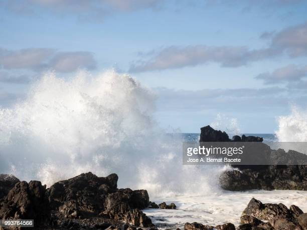 Crest of a wave of sea with white foam that breaks on a cliff of volcanic rocks in Terceira Island in the Azores Islands, Portugal.