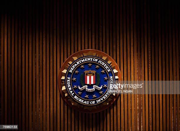 Crest of the Federal Bureau of Investigation is seen 03 August 2007 inside the J. Edgar Hoover FBI Building in Washington, DC. AFP PHOTO/Mandel NGAN